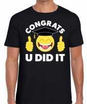 Congrats u did it t-shirt geslaagd afgestudeerd zwart heren trend