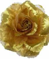 Corsage gouden glitter bloem accessoire 10 cm trend