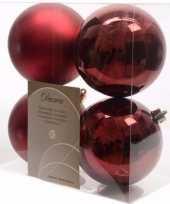 Cosy christmas kerstboom decoratie kerstballen donkerrood 4 x trend