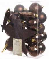 Cosy christmas kerstboom decoratie set bruin 33 delig trend
