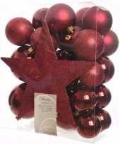 Cosy christmas kerstboom decoratie set donkerrood 33 delig trend