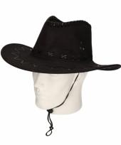 Cowboy hoed zwart suede look trend