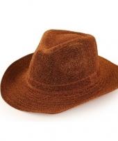 Cowboyhoed koperbruin glitter voor volwassenen trend