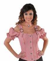 Cowgirl overhemd voor dames rood off shoulder trend