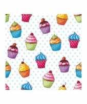 Cupcakesprint servetjes 20 x trend