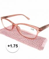 Dames leesbril 1 75 roze met glitters trend