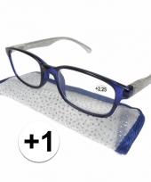 Dames leesbril 1 blauw met zilver trend