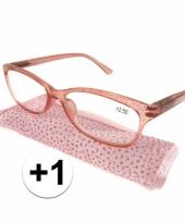 Dames leesbril 1 roze met glitters trend