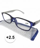 Dames leesbril 2 5 blauw met zilver trend