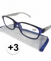 Dames leesbril 3 blauw met zilver trend
