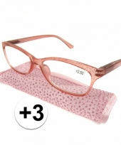 Dames leesbril 3 roze met glitters trend