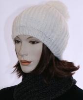 Dames muts witte baret met pompon trend