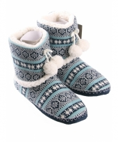 Dames pantoffels nordic blauw trend