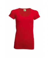 Dames shirt rood van gekamd katoen trend