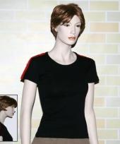 Dames t-shirt zwart met nl bies trend