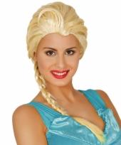 Dames verkleedpruik blond met lange vlecht trend