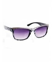 Dames zonnebril tijgerprint wit trend