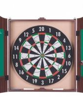 Dartbord in cabinet met 6 dartpijlen trend