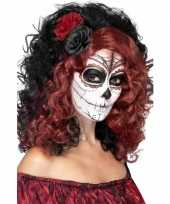 Day of the dead pruik met roos trend