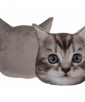 Deco kussen grijze kitten 30 cm trend