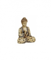 Decoratie beeld beige boeddha 16 cm trend