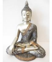 Decoratie boeddha beeld zilver 34 cm trend