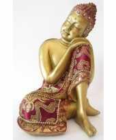 Decoratie boeddha beeldje goud 19 cm trend