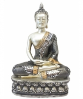 Decoratie boeddha thais zilver 28 cm trend