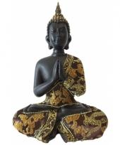 Decoratie boeddha thais zwart goud 22 cm trend