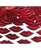 Decoratie confetti rode lippen van plastic 15 gram trend