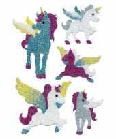 Decoratie glitterende eenhoorn stickers trend