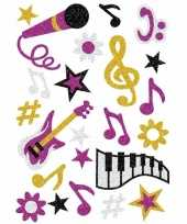 Decoratie glitterende muziek stickers trend