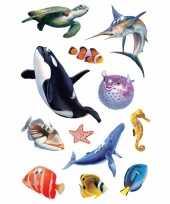 Decoratie glitterende oceaan diertjes stickers trend