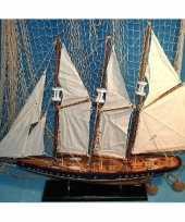 Decoratie houten model driemaster zeilschip 64 cm trend