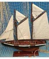 Decoratie houten model tweemaster zeilschip 50 cm trend