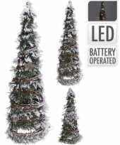 Decoratie kerstboom kegel met led licht op batterij 40 cm trend