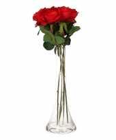 Decoratie kunstbloemen 5 rode rozen met vaas trend