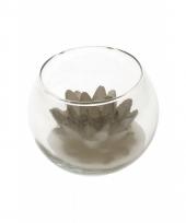 Decoratie lotus kaars in glas zilver 10 x 8 cm trend