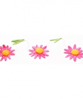 Decoratie madeliefjes slinger roze oranje trend