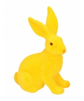 Decoratie paashazen geel 23 cm trend