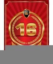 Decoratie poster 16 jaar rood en goud trend