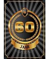 Decoratie poster 60 jaar zwart en goud trend