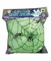 Decoratie spinnenweb groen 50 gram trend