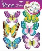 Decoratie stickers groene paarse vlinders 3d 6 stuks trend