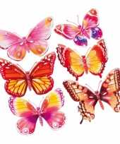 Decoratie stickers roze oranje vlinders 3d 6 stuks trend