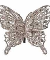 Decoratie vlinder champagne 13 x 11 cm trend