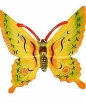 Decoratie vlinder geel 17 cm kunststof trend