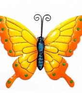 Decoratie vlinder geel oranje 22 cm trend