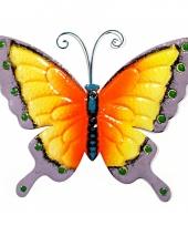 Decoratie vlinder geel paars 30 cm trend