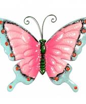 Decoratie vlinder roze blauw 30 cm trend